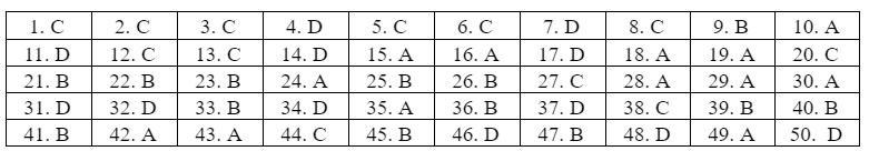 Đáp án môn Tiếng Anh thi tốt nghiệp THPT 2020 - 24 mã đề (tham khảo)
